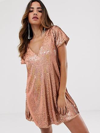 8291b0915d Tfnc Vestito a trapezio in paillettes oro rosa - Rosa