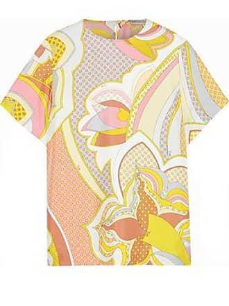 821188b49c7074 Emilio Pucci Emilio Pucci Woman Printed Silk-twill Top Pastel Yellow Size 48