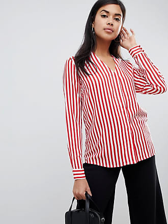 Y.A.S Strey striped collareless shirt - Red