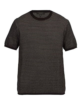 Rag & Bone Finn Jacquard Knit Cotton Blend T Shirt - Mens - Black