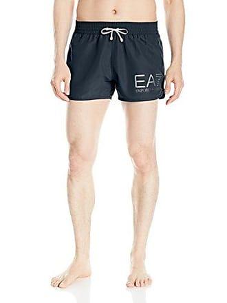 f4c8759753 Emporio Armani EA7 Mens Silver Logo W/Piping Mid Length Swim Shorts, Dark  Blue