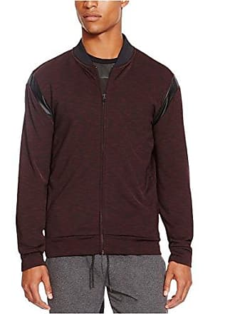 Kenneth Cole Reaction Mens Bomber Sweatshirt with Pleather, Plumberry Heather, Large