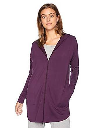 Natori Womens Brushed Jersey Jacket, DEEP Plum S