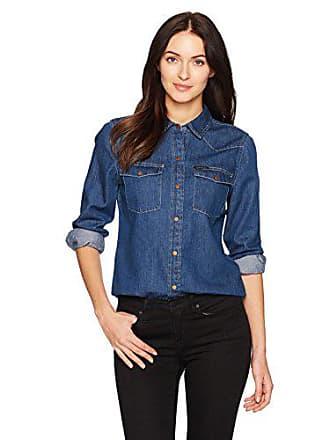 Calvin Klein Jeans Womens Long Sleeve Denim Button Down Shirt, Aaron Indigo, Large