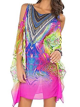 Luli Fama Womens Clandestina Cut Out Sleeve Short Caftan, Multi, One Size