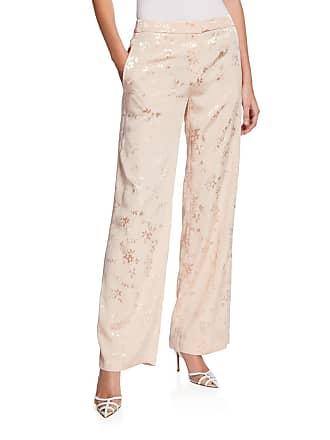 Iconic American Designer Floral Jacquard High-Rise Wide-Leg Pants