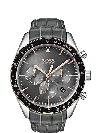 BOSS Chronograph watch with crocodile-embossed leather strap