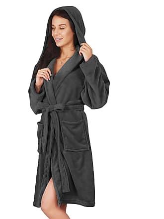 Decoking Bathrobe L Short Women Men Unisex Hooded Dressing Gown Microfibre  Soft Snug Cosy Fleece Dimgray c4e7adac88