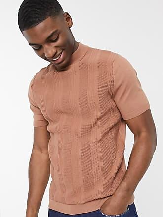 Topman Strick-T-Shirt in Braun