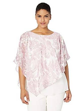 Alex Evenings Womens Plus Size Asymmetric Tiered Chiffon Blouse Shirt, Smokey Orchid/Ivory Overlay, 3X