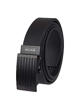 Kenneth Cole Reaction Mens Perfect Fit Adjustable Click Belt, black Plaque, Medium (34-36)