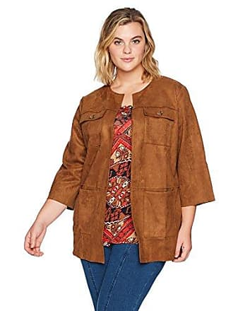 40af7aba953 Ruby Rd. Womens Plus-Size Open-Front Heavy Stretch Suede Jacket with Patch