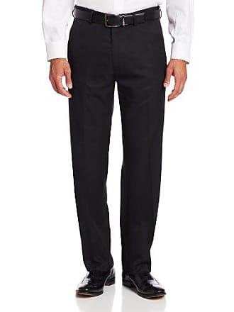 Haggar Mens Micro Herringbone Straight Fit Plain Front Expandable Waistband Dress Pant,Black,40x32
