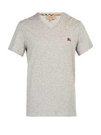 Burberry Logo Embroidered V Neck Cotton T Shirt - Mens - Grey