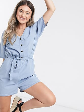 Jacqueline de Yong Chambray playsuit in blauw