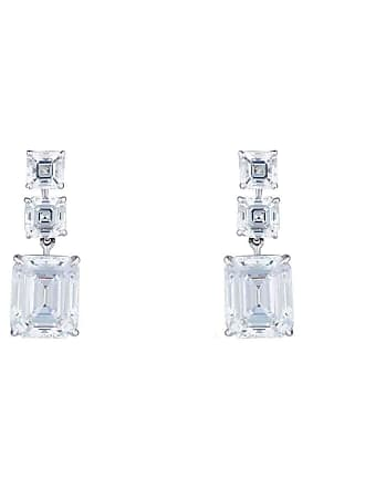 Fantasia Sterling Silver & Palladium 20ct Asscher and Emerald Drop Earrings