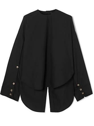 A.W.A.K.E. Audrey Reversible Cutout Cotton-blend Blouse - Black