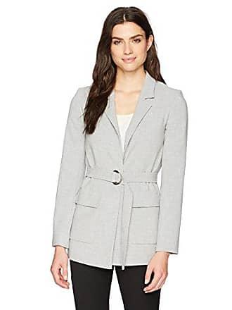 Ellen Tracy Womens Notch Collar Blazer with Patch Pockets, Slate Gray Heather, 12