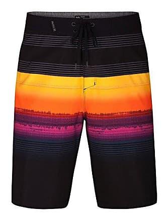 3e229da87e Hurley Mens Phantom Stretch Printed 20 Boardshort Swim Short, Black, 33