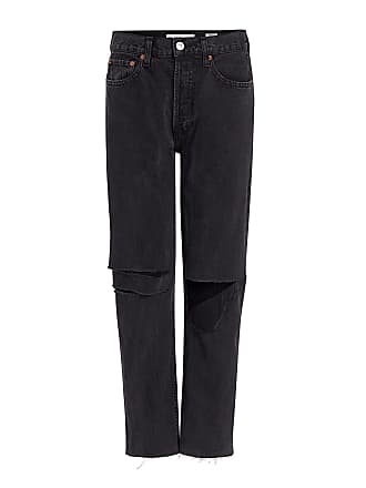 Re/Done Originals Stove Pipe High-Rise Distressed Straight-leg Jeans Black
