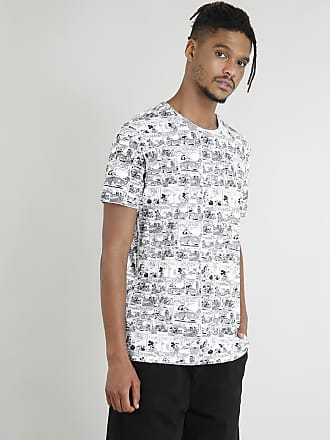 Disney Camiseta Masculina Mickey Mouse Estampada de Quadrinhos Manga Curta Branca
