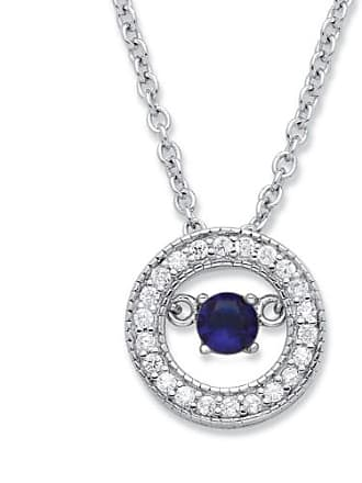 PalmBeach Jewelry 20 TCW CZ in Motion Birthstone and CZ Halo Pendant Necklace in Sterling Silver 18 - September- Simulated Sapphire