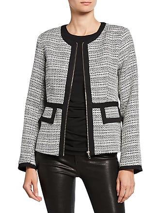 Neiman Marcus Tweed Zip-Front Contrast Trim Jacket