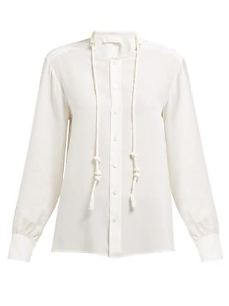 Chloé Twisted Drawcord Silk Crepe De Chine Blouse - Womens - Ivory