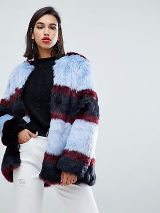 Y.A.S stripe faux fur coat - Multi