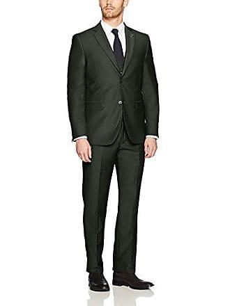 Stacy Adams Mens Bud Vested Slim Fit Suit, Olive, 46 Regular