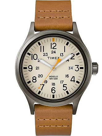 Timex Watch Mens Allied 40MM Leather Strap Gray/brown/natural Item Tw2R46400Vq