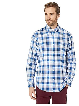 e993f342 Vineyard Vines Belmond Plaid Performance Classic Fit Tucker Shirt (Blue  Bay) Mens Long Sleeve