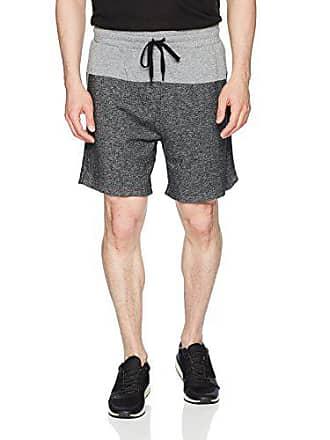 2(x)ist Mens Colorblock Short with Mesh Detail Shorts, Black Heather/Heather Grey, Medium