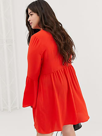 87dfbb156c1 Asos Curve ASOS DESIGN Curve fluted sleeve smock mini dress - Red