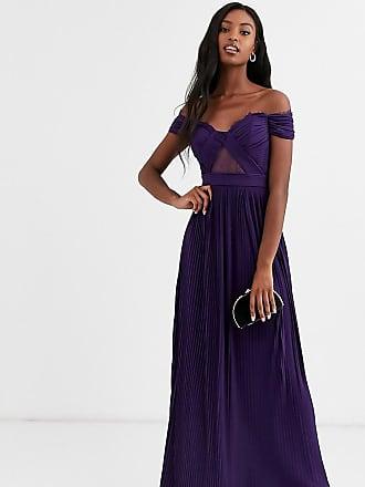 Asos Tall ASOS DESIGN Tall - Maxikleid mit Carmen-Ausschnitt, Spitze und Plisseefalten-Violett