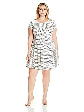 06c4c0f81e143 Julian Taylor Womens Plus Size Polka Dot Short Sleeved Fit and Flare Dress