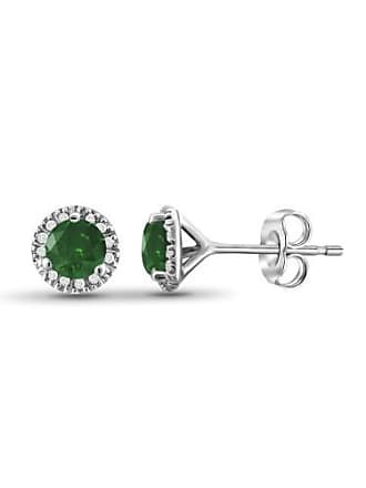 JewelersClub JewelersClub 1/2 Carat T.W. Green and White Diamond Sterling Silver Stud Earrings