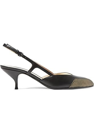 Bottega Veneta Two-tone Leather Slingback Pumps - Black