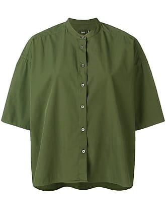 Closed collarless shortsleeved shirt - Green