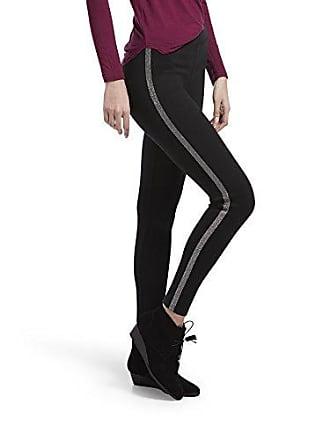 Hue Womens Ponte Leggings, Assorted, Black/Silver - Metallic Tuxedo, XS