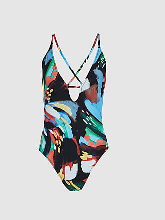 a2ca36084e Reiss Carolina - Printed Plunge Front Swimsuit in Black Multi, Womens, Size  XXL