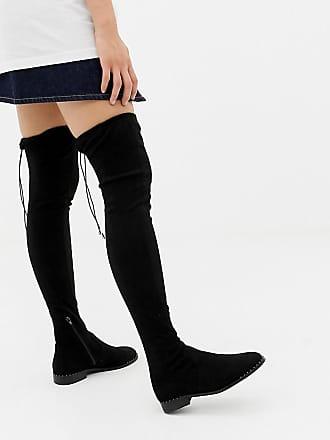 08073f469be Asos Kaska flat studded thigh high boots - Black