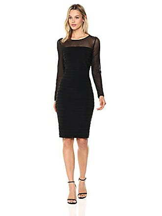 7fa1222a55f3 Adrianna Papell Womens Matte Jersey Pintucked Dress, Black, 8
