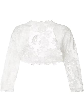 Olvi's lace-embroidered cropped cardigan - White