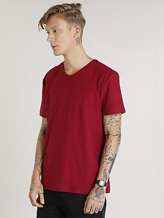 38b54dca9e Basics Camiseta Masculina Básica Flamê Manga Curta Gola V Vinho