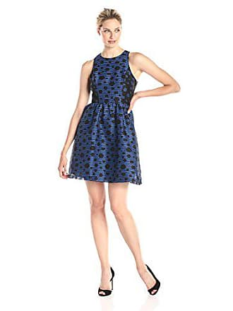 Ivy + Blu Womens Sleeveless Stripe Polka Dot Burnout Fit and Flare Dress, Black/Cobalt, 10
