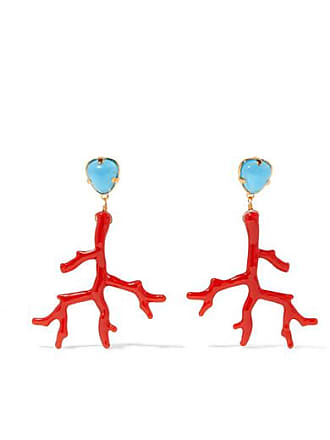 Kenneth Jay Lane Gold-tone And Enamel Clip Earrings - Coral