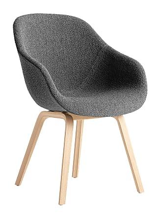 HAY About a Chair 123 Armlehnstuhl - grau/Stoff Flamiber Charcoal 08/Gestell Eiche matt lackiert/mit Kunststoffgleitern