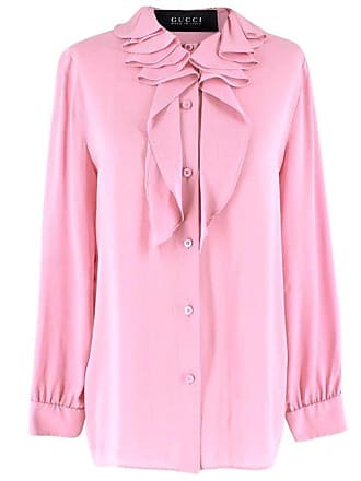 372c4b8a03aab4 Gucci Pink Silk Ruffled Collar Tie-neck Blouse Us 8