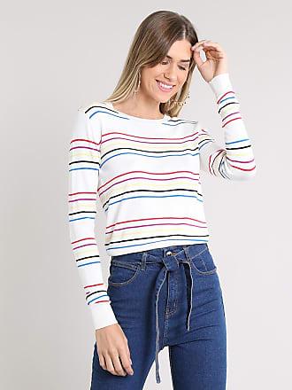 Basics Suéter Feminino Básico Listrado em Tricô Off White